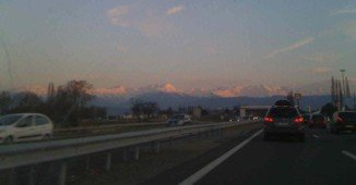 Driving to Meribel, French Alps.