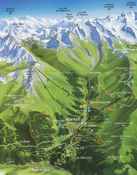 Map of Meribel in Summer