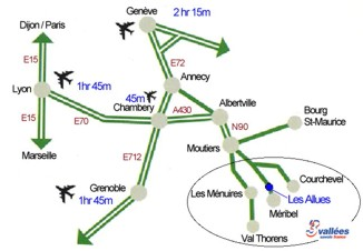 Route Map to Meribel, French Alps.