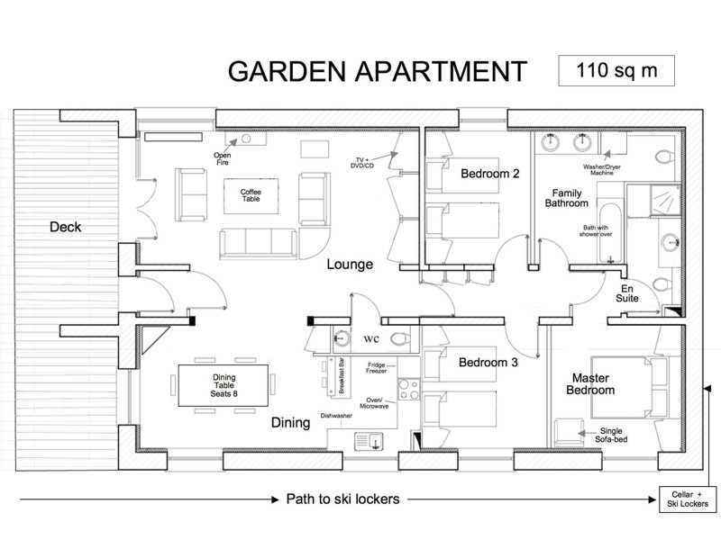 Champetre garden apartment meribel apartments for Backyard apartment floor plans